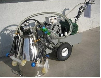 Deluxe Model milking machine for GOATS with 1 (7.5 gal) stainless bucket assemblies with 2 goat clusters Milking machine sold by Simple Milking Equipment