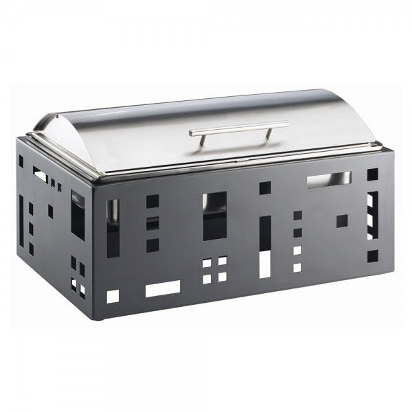 Squared Stainless Lift Top Chafer w/ Black Housing