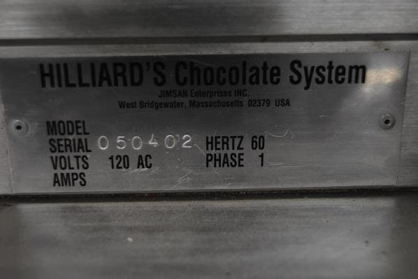 "Hilliard 240-lb/day Melter with 6"" Enrobing Attachment Chocolate temperer sold by Union Standard Equipment Co"