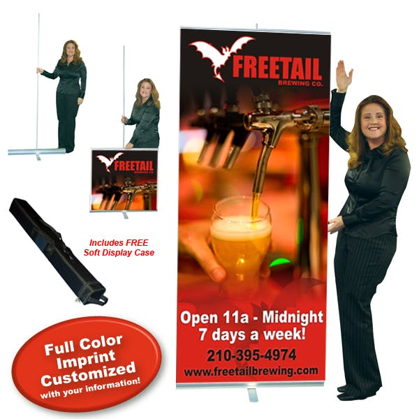 Economy Retractor Banner Display - 33.5-in Custom Vinyl banner sold by MicrobrewMarketing.com