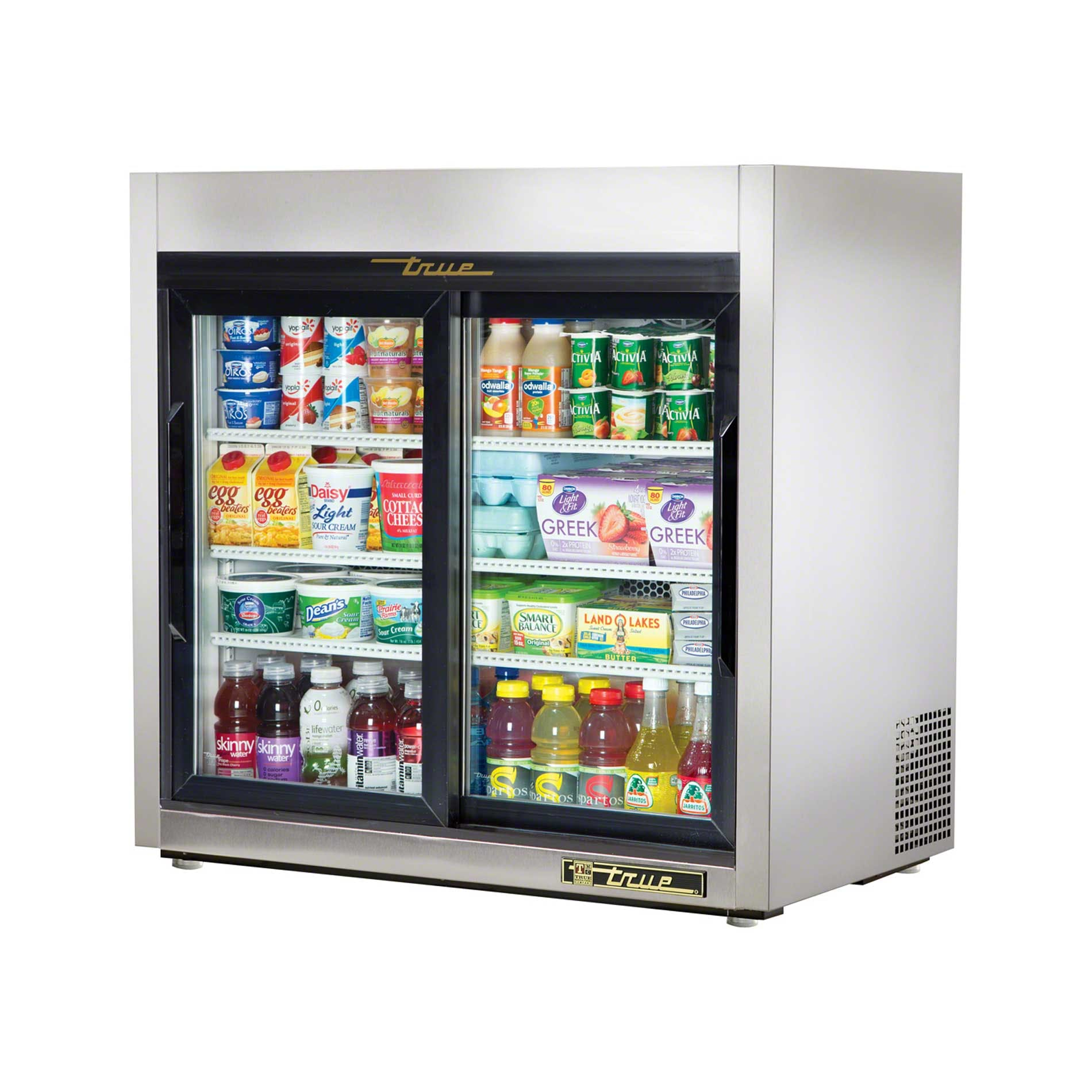 "True - TSD-9G-LD 36"" Slide Glass Door Countertop Merchandiser Refrigerator LED Commercial refrigerator sold by Food Service Warehouse"