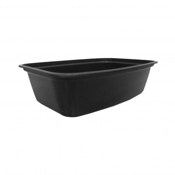 38 oz. Black Plastic Rectangular Reusable Food Container