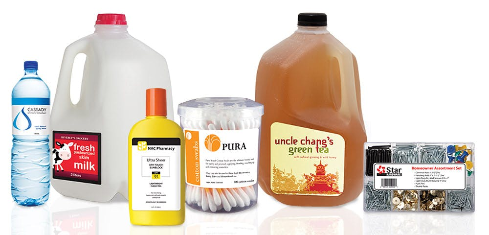 MANUFACTURING AND CONTRACT PACKAGING Bottle label sold by Worldwide Ticket and Label