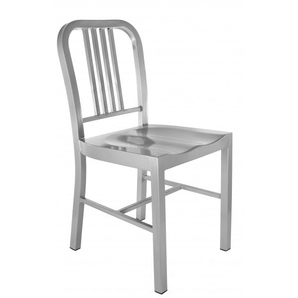 Silver Recycled Steel Indoor/Outdoor Navy Chair