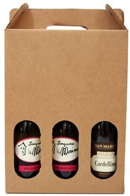 Three Bottle Brown Wine Carrier Bottle carrier sold by SpiritedShipper
