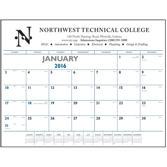 Norwood Promotional Products :: Product :: Blue & Black Desk Pad Custom calendar sold by Distrimatics, USA