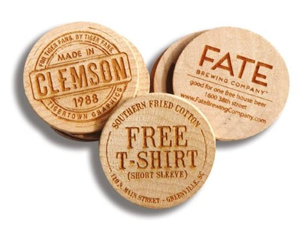 etched wooden tokens, wooden nickels Promotional token sold by Luscan Group