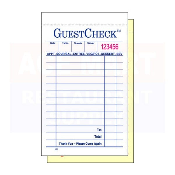 Carbonless Duplicate Guest Check - NAC101SP