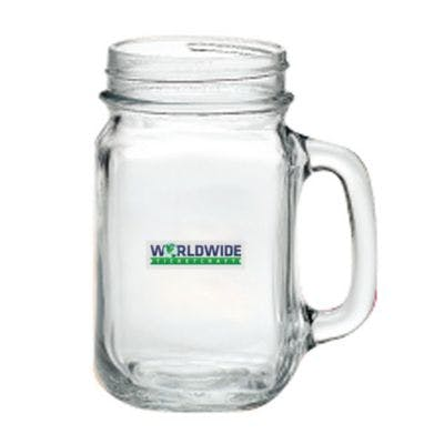 Glass Drinking Jar 16 oz. Beer glass sold by Worldwide Ticket and Label