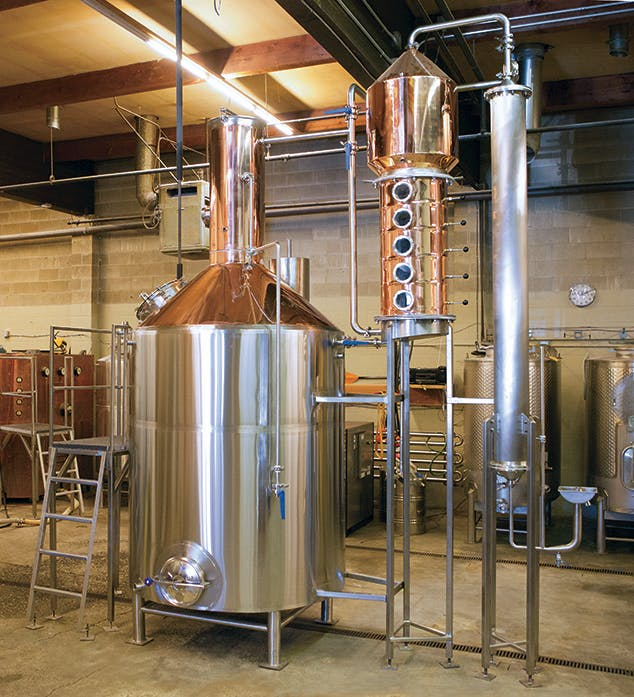 600 gallon Still with a side Column and Condenser Distillation still sold by Global Stainless Systems Inc.