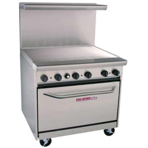 "Tri-Star - TSR-G36 - 36"" Commercial Gas Range - Griddle Commercial range sold by Elite Restaurant Equipment"