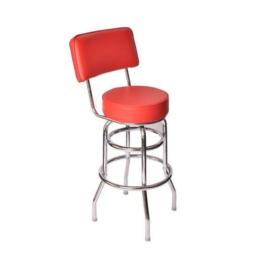 Jaxpro BSREDB | Swivel Barstool w/ Red Vinyl Seat and Back Barstool sold by Mission Restaurant Supply