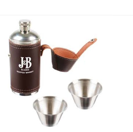 8 Oz. Flask with 2 Stainless Steel Shot Glasses (Item # FGNNP-JOHNQ) Flask sold by InkEasy