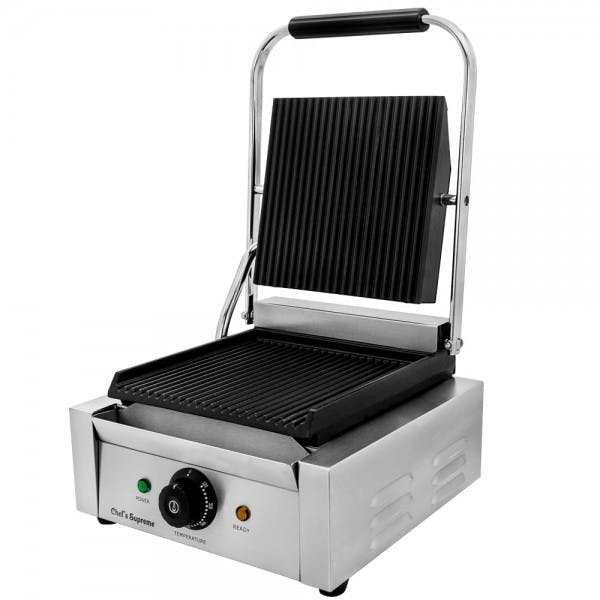 "Commercial Panini Grill w/ 9"" x 9"" Grooved Plates"