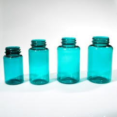 250 cc Teal Wide Mouth Round PET Packer Bottle (#210729) - sold by Berlin Packaging