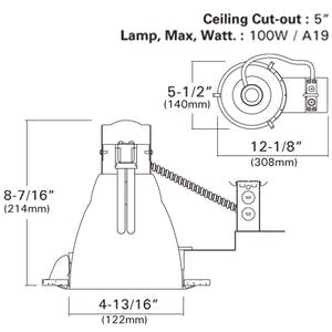 "4"" Incandescent Vertical Remodel Frame-in kit For Incandescent Lamps - sold by RelightDepot.com"