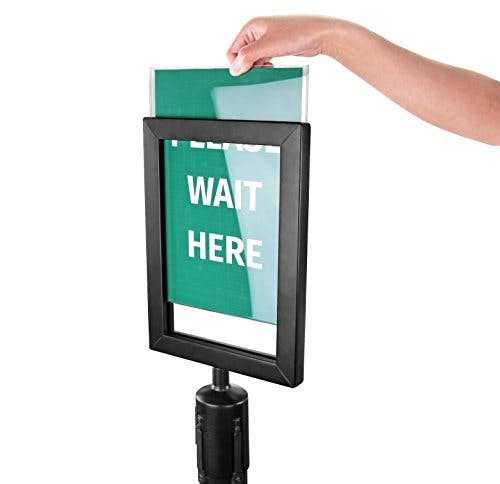 New Star Foodservice 54729 Sign Frame for Stanchion Belt, Black