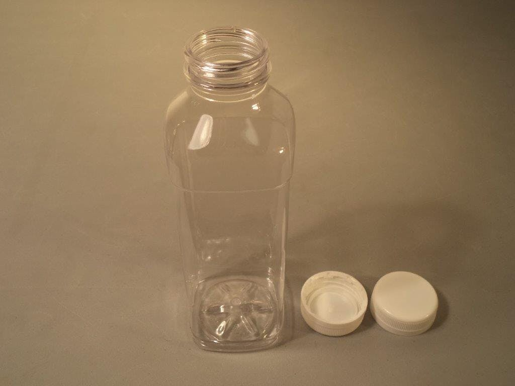 16oz Square Bottle Plastic bottle sold by Crystal Vision Packaging Systems