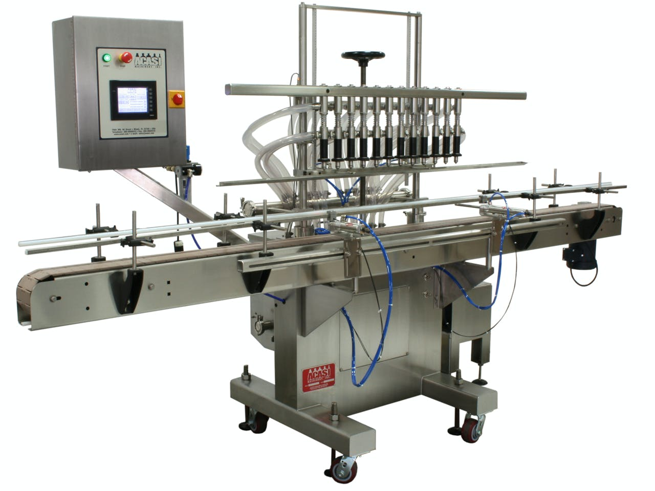 Inline Pressure Overflow Filler - Model GI3300 Bottle filler sold by ACASI Machinery