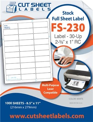 FS-230 Label adhesive sold by Cut Sheet Labels