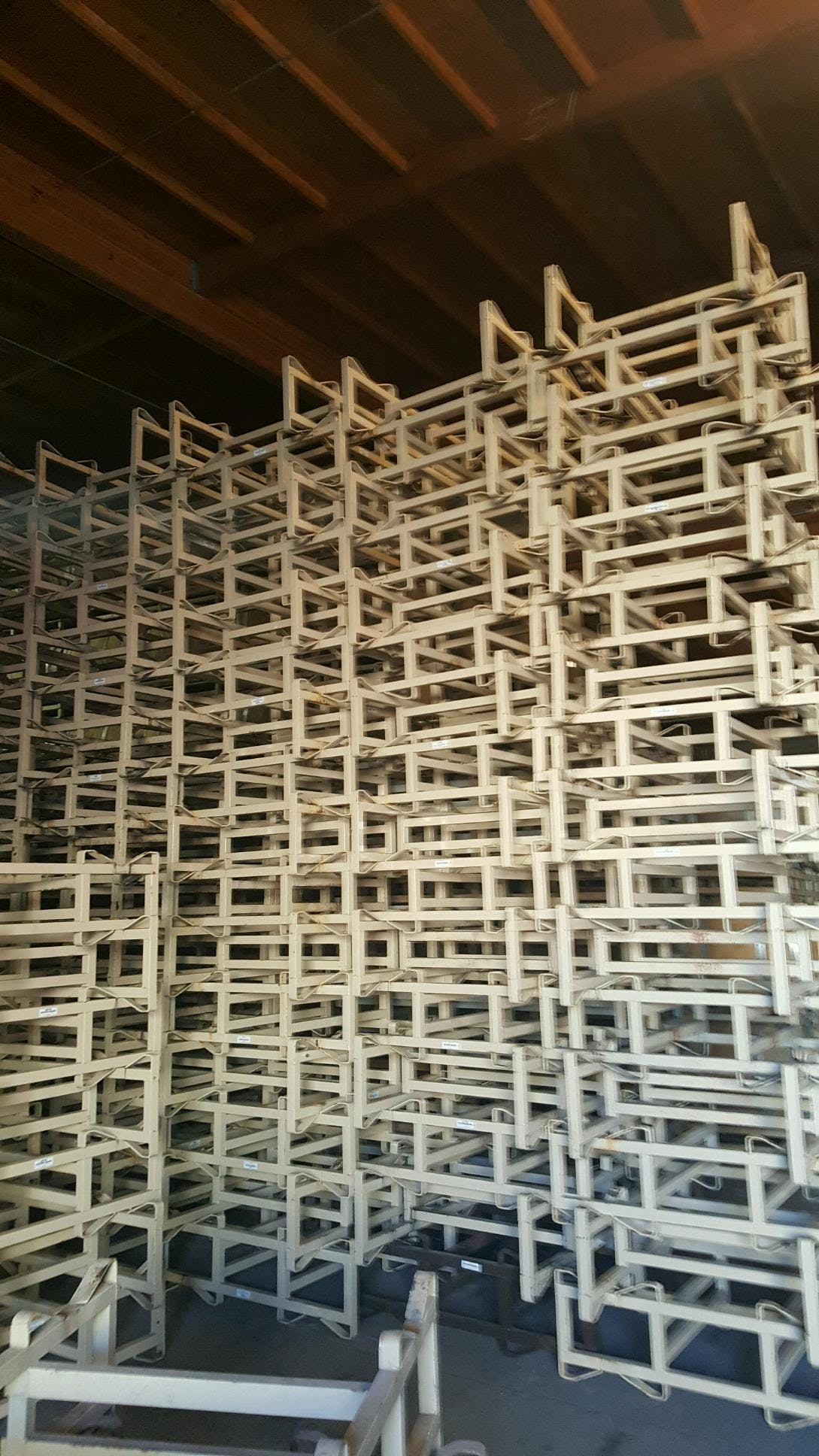 """7"""" racks-good condition - Used 7"""" double bar, two barrel racks - sold by Quality Wine Barrels"""