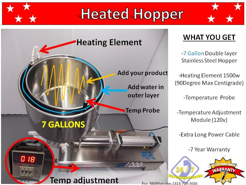 7 Gallon Heated Hopper-Double Layer Stainless Steel Hoper-Heating Element 1500w / Fits Jet- Only