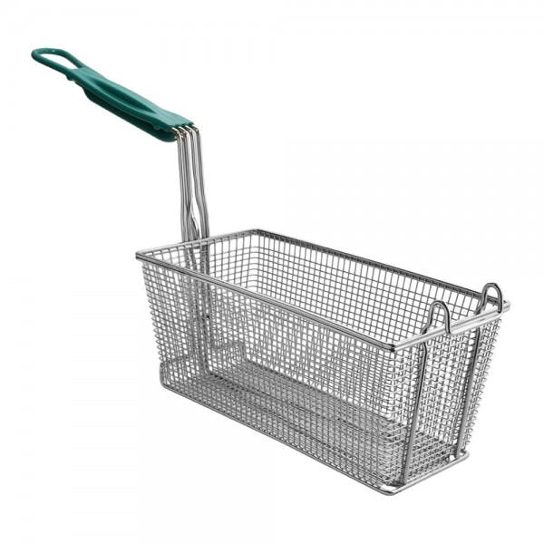 "13-1/4"" x 5-3/4"" x 5-3/4"" Nickel Plated Fryer Basket w/ Front Hook"