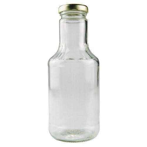 14 oz (414 mL) Clear Glass Decanters (Optional Gold Metal Lug Caps) Glass bottle sold by Freund Container & Supply