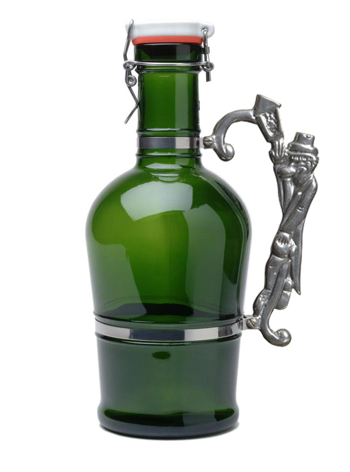 #611 Green 2L German Growler with Lamplighter Handle Growler sold by Tote Glass