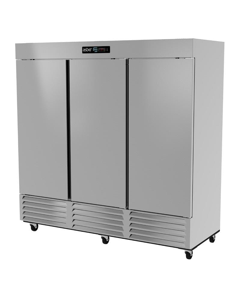 ARR-72 Asber, triple door stainless steel Merchandiser Refrigerator