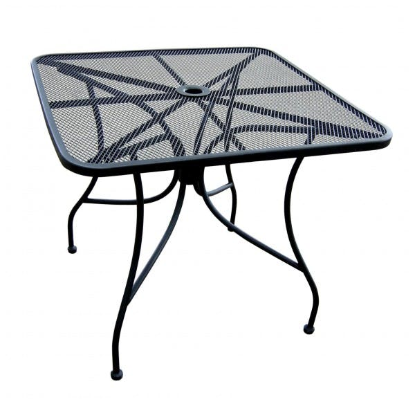 "36"" Square Black Iron Mesh Outdoor Table"