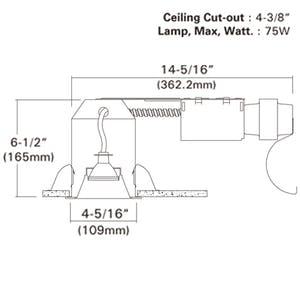 """4"""" NON-IC Remodel Line Voltage Recessed Housing w/ Electronic - sold by RelightDepot.com"""