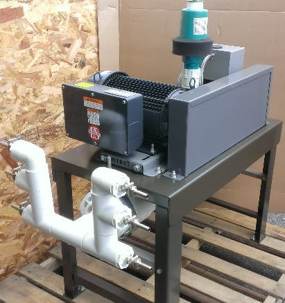 3 HP Vacuum pump with 6 stallcocks, ready to wire to 220V power. Comes ready to milk 6 Bucket units