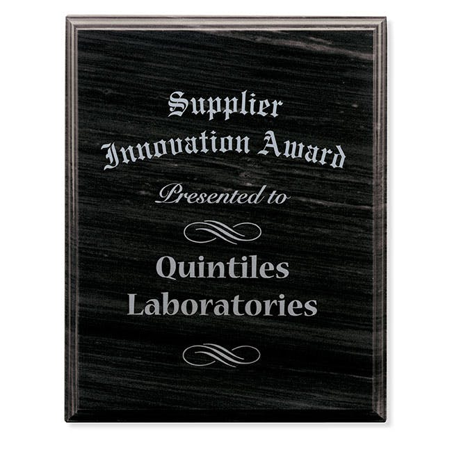 "Black Marble Award Plaque - 8"" x 10"" by Jaffa® Award sold by Distrimatics, USA"