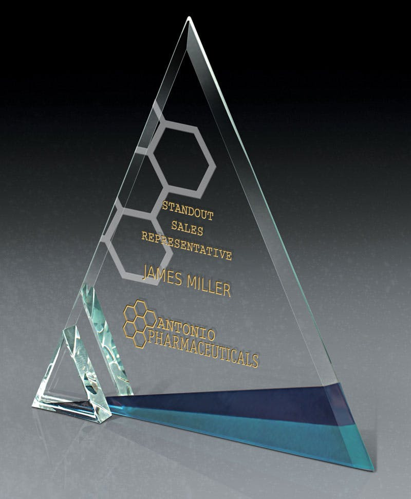 Azul Ice European Starphire Glass award Award sold by Distrimatics, USA