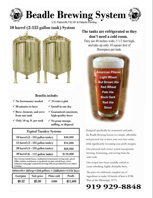 Brewing System - sold by specialty products intl. ltd