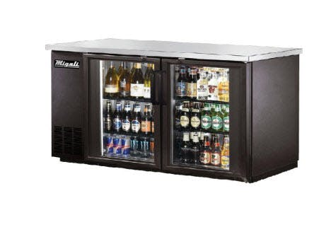 Migali C-BB48G Glass Door Back Bar Refrigerator (11.8 cu ft) Back bar cooler sold by pizzaovens.com