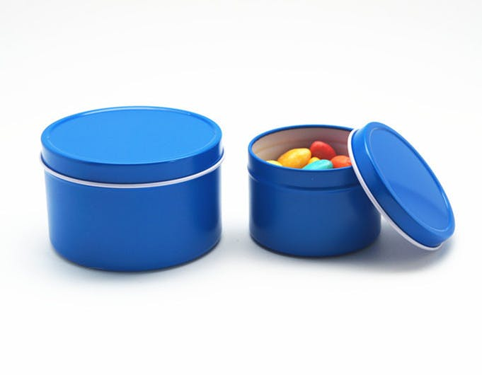 Deep Rust Proof Solid Lid Tin Can - Blue Metal tins sold by Mimi Pack