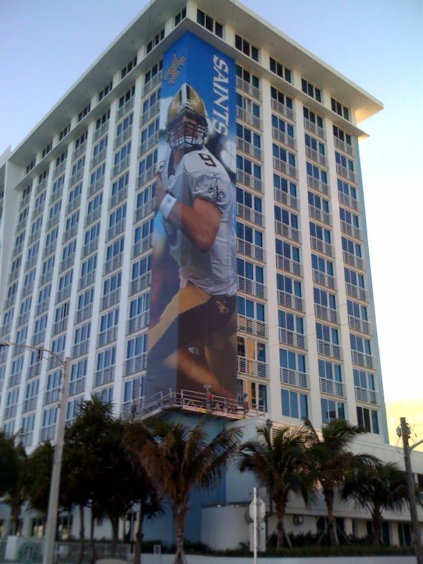 SUPER BOWL BUILDING BANNER - VINYL BANNERS - sold by AAA FLAG & BANNER MFG. CO.
