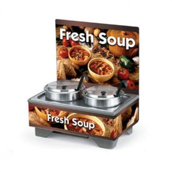 Cayenne® Full Size Rethermalizing Soup Merchandiser w/ Menu Board & Country Kitchen Graphics - V-VOL720202103