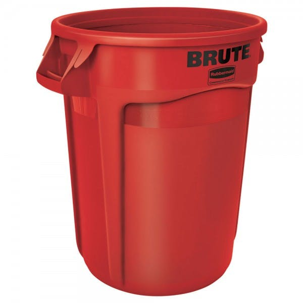 Brute® 32 gal. Red Round Plastic Trash Can