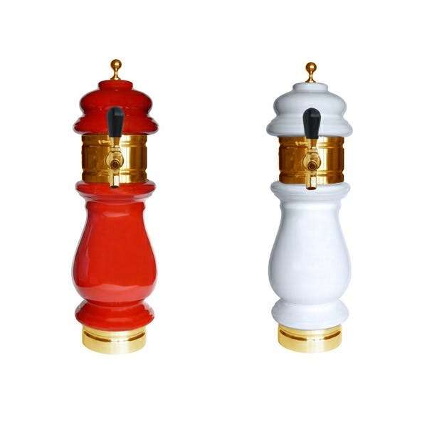 Ceramic Draft Beer Tower- Gold - Glycol Ready - 1 to 3 Taps - sold by KegWorks