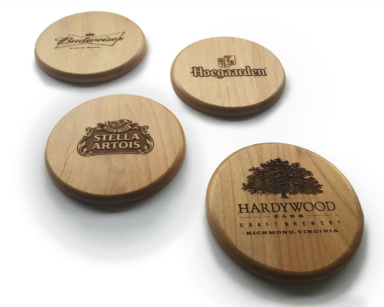"Solid Alder 4"" Circular Coasters Drink coaster sold by Custom H2Oh!"