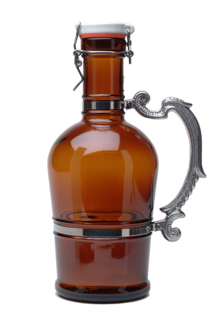 #504 Amber 2L German Growler with Romantic Metal Handle Growler sold by Tote Glass