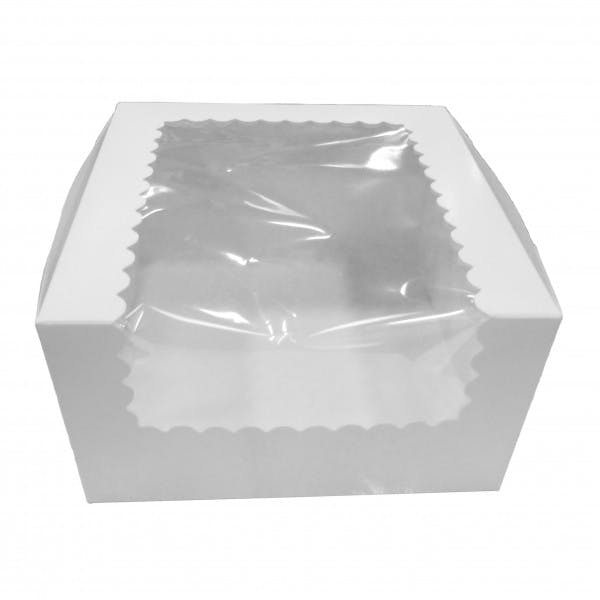 "7"" x 7"" x 4"" White Cardboard Cake Box w/ Window"