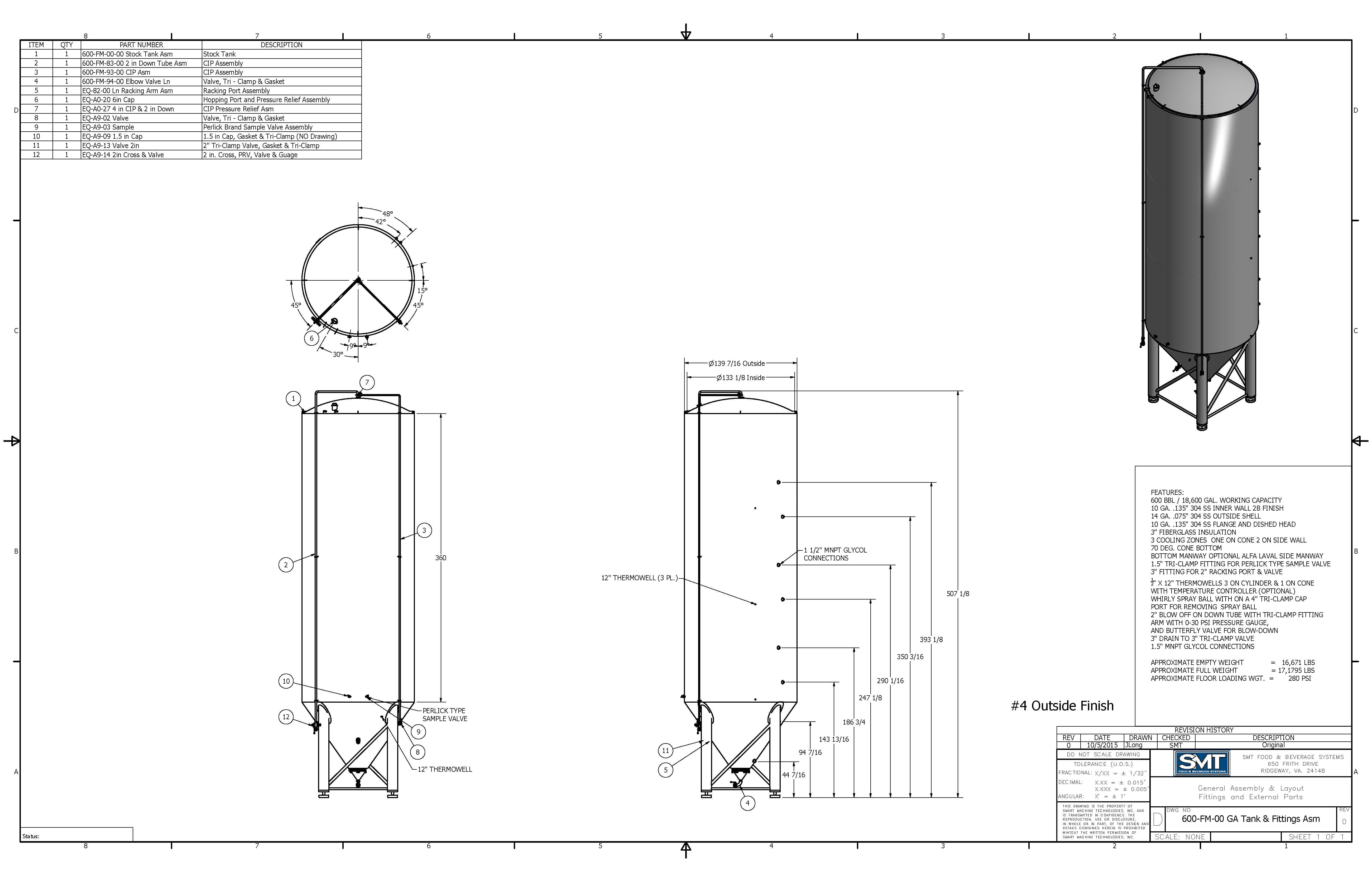 SMT FV General Assemblies Fermenter sold by Smart Machine Technologies, Inc