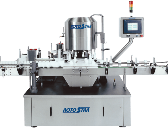 Capmatic RotoStar Continuous Motion Labeling System Bottle labeler sold by Capmatic