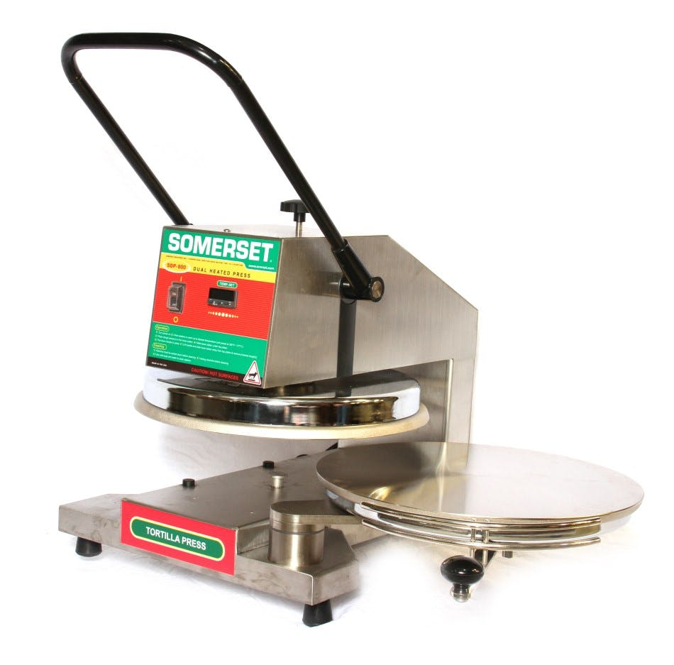 Somerset SDP-800 Dual Heat Dough Press Tortilla press sold by pizzaovens.com