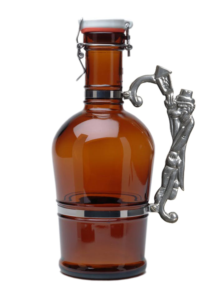 #511 Amber 2L German Growler with Lamplighter Handle Growler sold by Tote Glass