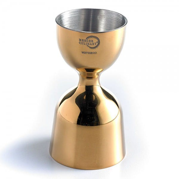 Barfly™ 1 oz. x 2 oz. Gold-Plated Heavy-Duty Straight Rim Bell Jigger